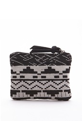 Forever 21 Southwestern Pattern Zipped Coin Purse Black Cream