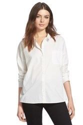 Leith Square Hem Boyfriend Shirt Juniors White