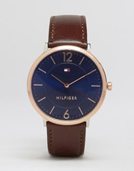 Tommy Hilfiger Ultra Slim Brown Leather Watch With Gold Dial Brown