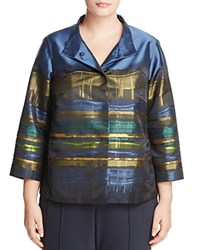 Lafayette 148 New York Plus Vanna Abstract Print Sateen Jacket Aegean Multi
