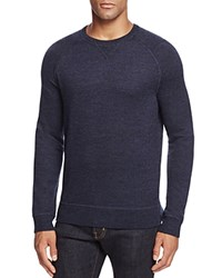Bloomingdale's The Men's Store At Merino Wool French Terry Crewneck Sweater Blue Marled