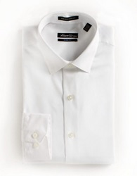 Kenneth Cole Slim Fit Striped Cotton Dress Shirt White