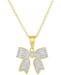 Victoria Townsend Diamond Accent Bow Pendant Necklace In 18K Gold Over Sterling Silver Yellow Gold