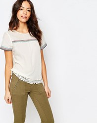 Esprit Embrodiered Folk Shell Top Off White