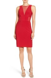 Morgan And Co. Women's Illusion Sleeveless Body Con Dress Red