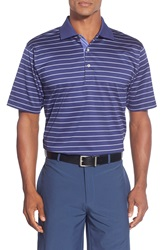 Peter Millar 'Watkins' Stripe Lisle Polo Patriot Navy