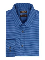 Corsivo Vidone Satin Dogstooth Shirt Blue