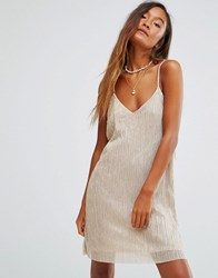 Pull And Bear Pullandbear Gold Metallic Plisse Cami Dress Cream