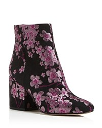 Sam Edelman Taye Embroidered Floral Block Heel Booties Pink Multi