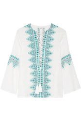 Talitha Noor Embroidered Cotton Blend Voile Tunic White
