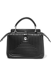 Fendi Dotcom Click Quilted Leather Tote Black