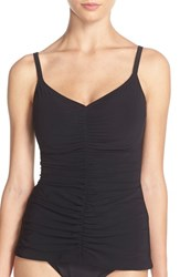 Women's Profile By Gottex Underwire Shirred Tankini Top Black