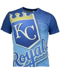 Forever Collectibles Men's Kansas City Royals Big Logo Sublimated T Shirt Navy Lightblue