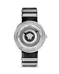 Versace V Metal Icon Stainless Stain Watch With Black Leather Band 40Mm