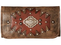 American West Annie's Secret Collection Tri Fold Wallet Distressed Charcoal Brown Chestnut Brown Wallet Handbags