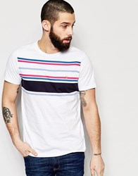 Farah T Shirt With Chest Stripe Slim Fit White