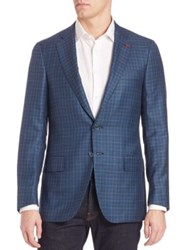 Isaia Blue Plaid Blazer Dark Blue