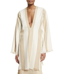 Derek Lam Long Sleeve Striped Canvas Tunic Straw Natural
