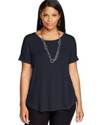 Alfani Plus Size High Low Tee Modern Navy