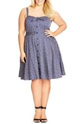 Plus Size Women's City Chic Floral Pin Dot Print Fit And Flare Sundress