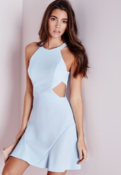 Missguided Stretch Crepe Cut Out Skater Dress Powder Blue Blue