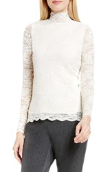 Vince Camuto Women's Scallop Lace Mock Neck Top