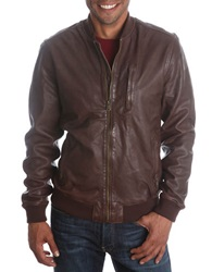Lucky Brand Leather Bomber Jacket Brown