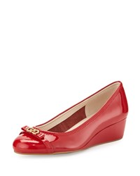 Cole Haan Elsie Patent Bow Wedge Pump Tango Red