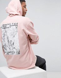Asos Oversized Longline Hoodie With Marble Back Print Rose Dust Pink