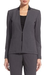 T Tahari Women's 'Farley' Suit Jacket Charcoal Heather