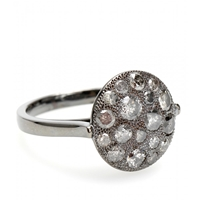 Roberto Marroni Mora 18Kt Oxidized White Gold And Grey Diamond Ring Gold Grey