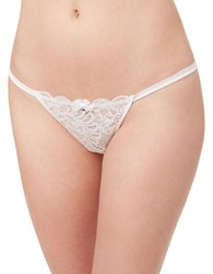 Le Mystere Sophia Lace Trimmed Thong Pearl