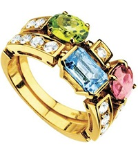 Bulgari Allegra Two Band 18Ct Yellow Gold Pink Tourmaline Peridot Blue Topaz And Pave Diamond Ring