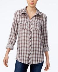 Miss Me Embroidered Plaid Shirt Grey
