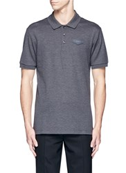 Givenchy Leather Logo Patch Polo Shirt Grey