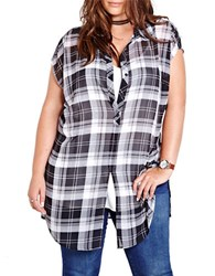 Addition Elle Love And Legend Infinity Cap Sleeve Tie Front Plaid Shirt Black