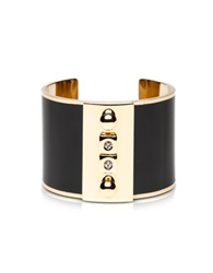 Pluma Golden Brass And Black Enamel Cuff