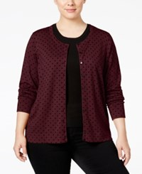Charter Club Plus Size Polka Dot Cardigan Only At Macy's Cranberry Red Combo
