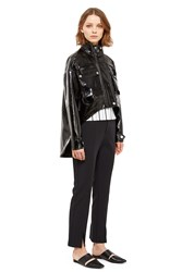 Opening Ceremony Faux Patent Leather Utility Jacket Black