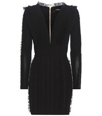 Balmain Ruched And Ruffled Mini Dress Black