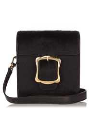 Simone Rocha Buckle Calf Hair Cross Body Bag Black