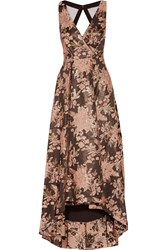 Badgley Mischka Cutout Jacquard Gown Black