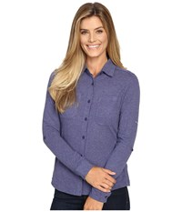 Columbia Saturday Trail Knit Long Sleeve Shirt Nightshade Heather Women's Long Sleeve Button Up Multi