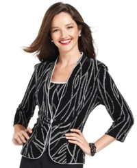 Alex Evenings Evening Set Three Quarter Sleeve Glitter Jacket And Sleeveless Top