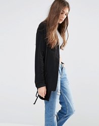 Pull And Bear Pullandbear Longline Bomber With Drawstring Hem Black