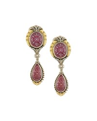 Konstantino Patterned Ruby And Quartz Double Drop Clip Earrings Women's