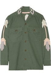 Bliss And Mischief East At Dawn Embroidered Cotton Canvas Jacket Army Green