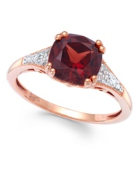 Macy's Garnet 2 1 5 Ct. T.W. And Diamond Accent Ring In 14K Rose Gold