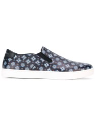 Dolce And Gabbana Tie Print Slip On Sneakers Blue