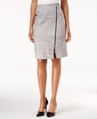 Kasper Tweed Zip Front Pencil Skirt Grey
